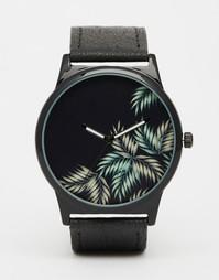 Черные часы с лиственным принтом ASOS - Черный
