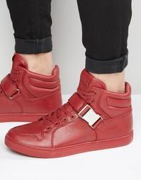 Высокие красные кроссовки с ремешками ASOS - Красный