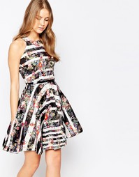 Платье с разрезом на горловине, цветочным принтом и ремнем Closet