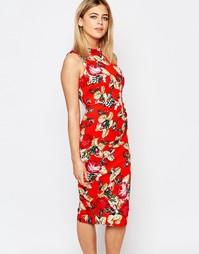 Платье-футляр с цветочным принтом Vesper - Оранжевый
