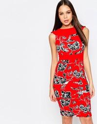 Платье-футляр с цветочным принтом Vesper - Красный