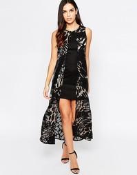 Платье миди с верхним слоем и выжженным животным принтом Liquorish