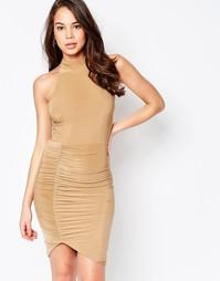 Платье миди с высокой горловиной и драпировкой AX Paris - Кэмел