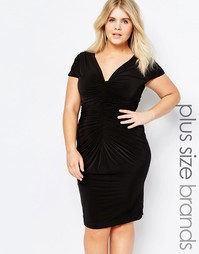 Платье с драпировкой Goddiva Plus - Черный