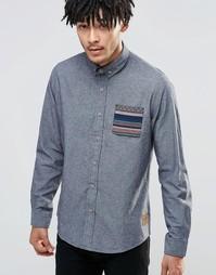 Рубашка с контрастным принтом на кармане Brave Soul - Серый