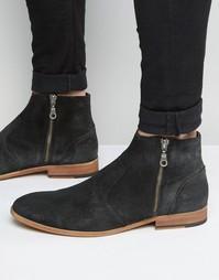 Замшевые ботинки на молнии Walk London Giles - Черный