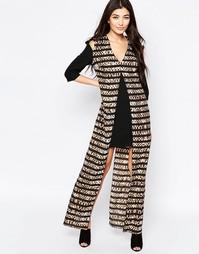 Цельнокройное платье макси со звериным принтом в полоску Liquorish