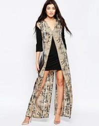 Цельнокройное платье с длинной накладкой со змеиным принтом Liquorish