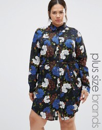 Платье-рубашка с цветочным принтом Praslin Plus - Черный