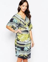 Платье-кимоно с комбинированным пальмовым принтом Closet - Мульти