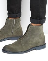 Замшевые ботинки на шнурках Boss Orange Cultroot - Зеленый