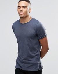 Удлиненная футболка с молниями Jack & Jones - Темно-синий