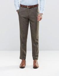 Узкие твидовые брюки ASOS - Коричневый
