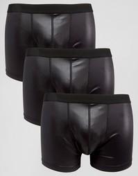 Комплект из 3 боксеров-брифов из ткани с мокрым эффектом ASOS - Черный