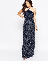 Платье макси с халтером и отделкой Maya - Темно-синий