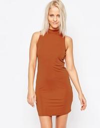 Платье-футляр с высокой горловиной Glamorous - Красно-бурый