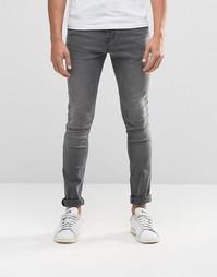 Ультразауженные джинсы скинни серого выбеленного цвета ASOS - Серый