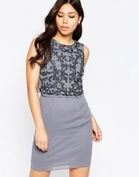 Платье с отделкой и разрезом сзади Maya - Серый