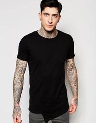 Черная футболка с асимметричным передом Lindbergh - Черный