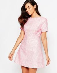 Жаккардовое цельнокройное платье Lashes of London Lolly - Розовый