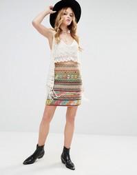 Мини-юбка с завышенной талией Glamorous - Мульти