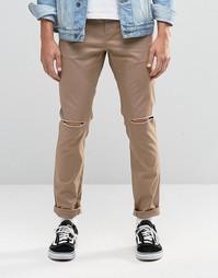 Хлопковые суперзауженные брюки песочного цвета с рваной отделкой ASOS