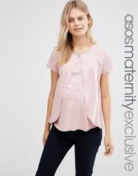 Топ для кормящих мам с оборками на лифе ASOS Maternity - Розовый