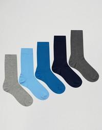 5 пар серых и синих носков ASOS - Мульти