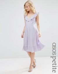 Приталенное платье миди с оборками ASOS PETITE - Сиреневый