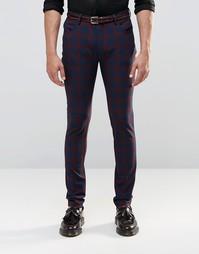 Зауженные брюки в красную клетку с 5 карманами ASOS - Красный