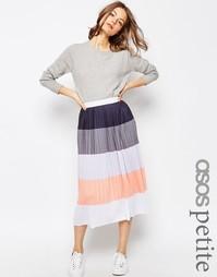 Плиссированная юбка миди в полоску ASOS PETITE - Мульти