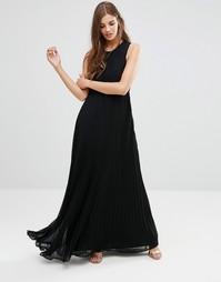 Черное платье макси с высокой горловиной Lavand - Черный