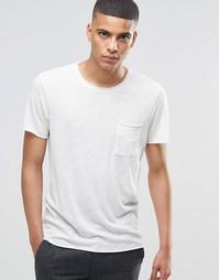 Меланжевая футболка с необработанным краем Selected Homme - Бежевый