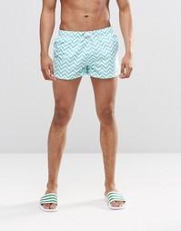 Короткие шорты с крупным принтом зигзаг Swells - Зеленый