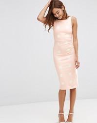 Облегающее платье миди в горошек ASOS