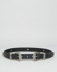 Кожаный ремень с двумя пряжками и камнями ASOS - Черный