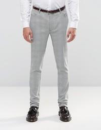 Суперзауженные брюки в черно‑белую ломаную клетку ASOS - Черный