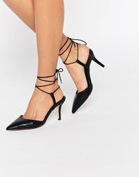 Остроносые туфли на шнуровке ASOS SHOWCASE - Черный змеиный
