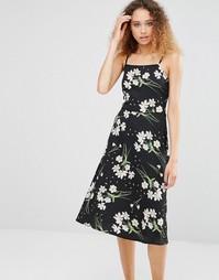 Платье миди со шнуровкой сзади и цветочным принтом Daisy Street