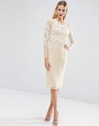 Платье миди из сеточки с отделкой ASOS RED CARPET Premium - Телесный