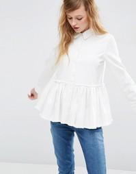 Белая джинсовая рубашка с необработанным краем ASOS - Белый