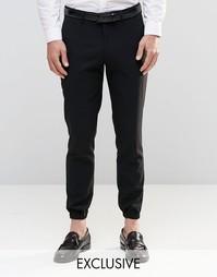Зауженные брюки стретч с кромкой манжетом Only & Sons - Черный