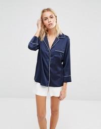 Атласный пижамный комплект Fashion Union - Темно-синий с белым