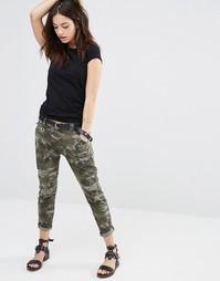 Рваные брюки скинни с камуфляжным принтом Only - Военный зеленый