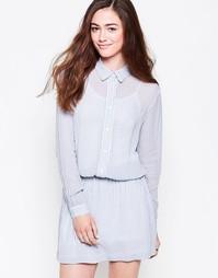 Платье-рубашка из жоржета в полоску с эластичной талией Ganni Park Row