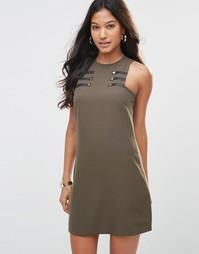 Цельнокройное платье с пуговицами Rare - Хаки