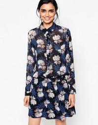 Платье-рубашка с цветочным принтом и эластичным поясом Ganni Park