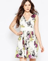 Платье с V-образным вырезом, принтом и поясом оби Liquorish - Белый