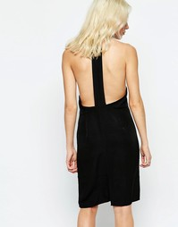 Цельнокройное платье с открытой спинкой Neon Rose - Черный