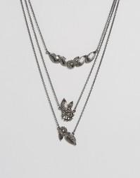 Ожерелье из нескольких цепочек с цветами ASOS - Gunmetal